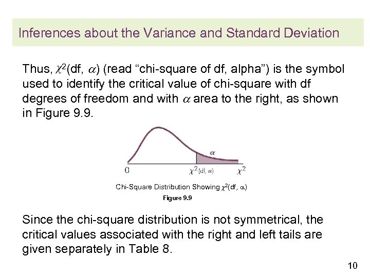 """Inferences about the Variance and Standard Deviation Thus, χ2(df, ) (read """"chi-square of df,"""