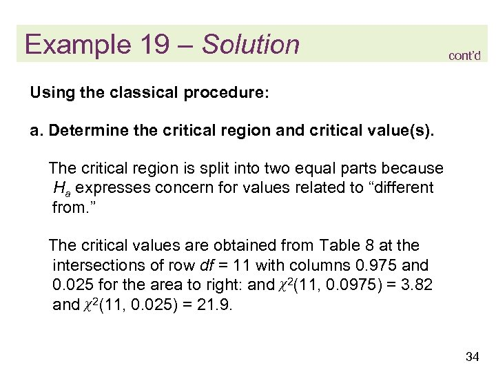 Example 19 – Solution cont'd Using the classical procedure: a. Determine the critical region