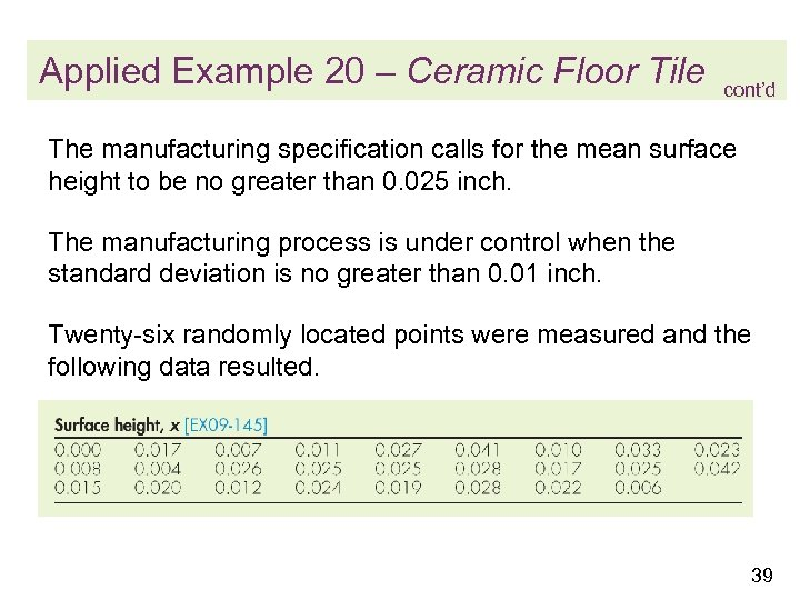 Applied Example 20 – Ceramic Floor Tile cont'd The manufacturing specification calls for the