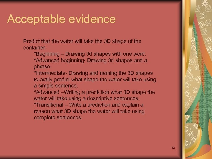 Acceptable evidence Predict that the water will take the 3 D shape of the