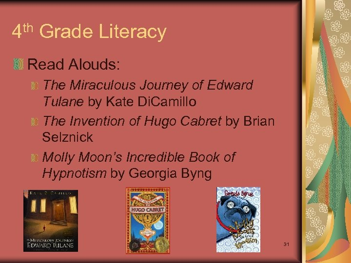 4 th Grade Literacy Read Alouds: The Miraculous Journey of Edward Tulane by Kate