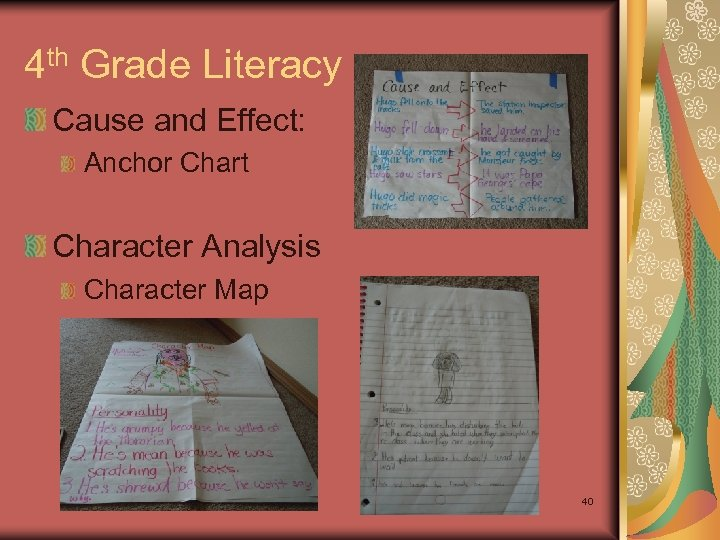 4 th Grade Literacy Cause and Effect: Anchor Chart Character Analysis Character Map 40