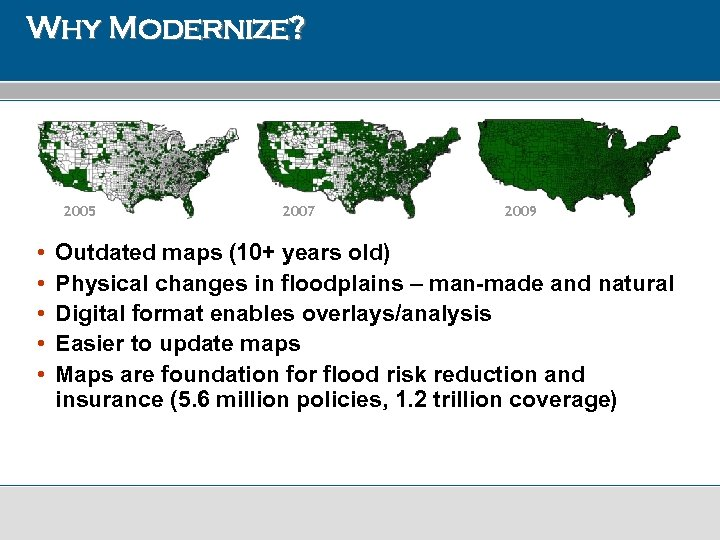 Why Modernize? 2005 • • • 2007 2009 Outdated maps (10+ years old) Physical