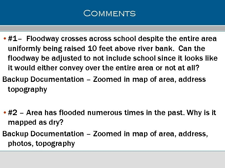 Comments • #1– Floodway crosses across school despite the entire area uniformly being raised