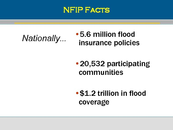 NFIP Facts Nationally. . . • 5. 6 million flood insurance policies • 20,