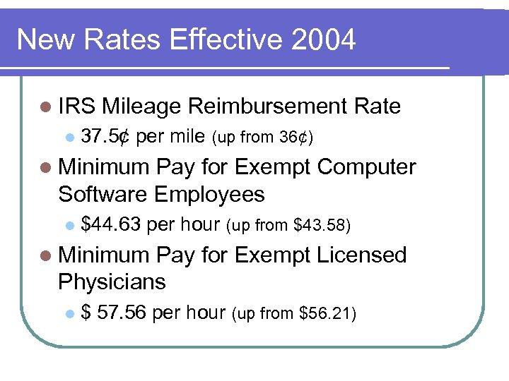 New Rates Effective 2004 l IRS l Mileage Reimbursement Rate 37. 5¢ per mile