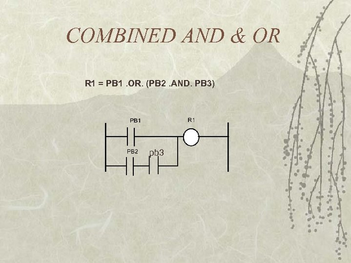 COMBINED AND & OR R 1 = PB 1. OR. (PB 2. AND. PB