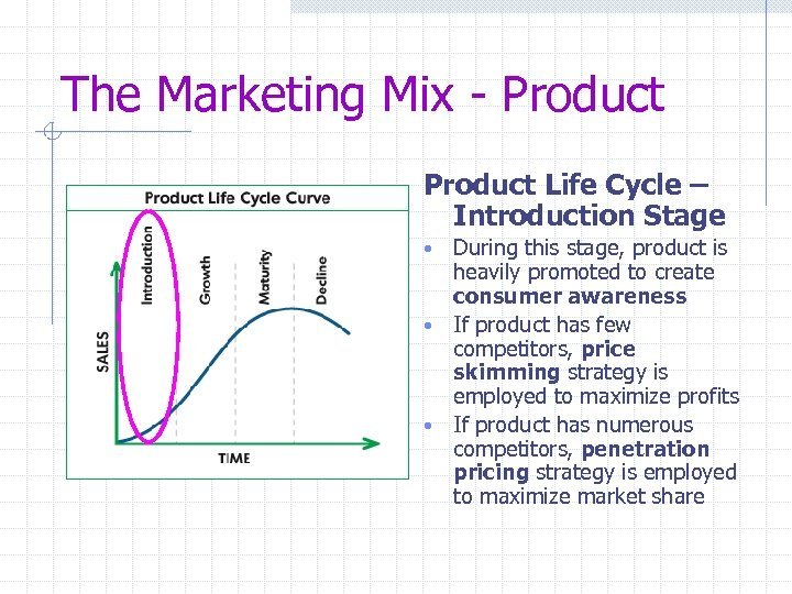 The Marketing Mix - Product Life Cycle – Introduction Stage During this stage, product