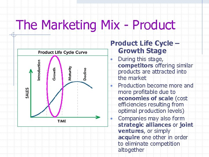 The Marketing Mix - Product Life Cycle – Growth Stage During this stage, competitors