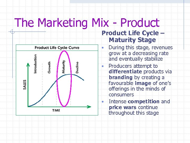 The Marketing Mix - Product Life Cycle – Maturity Stage During this stage, revenues