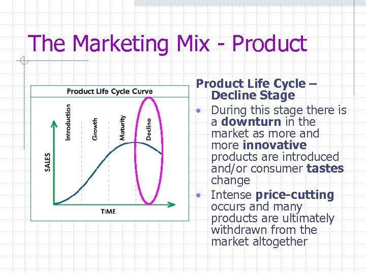 The Marketing Mix - Product Life Cycle – Decline Stage • During this stage