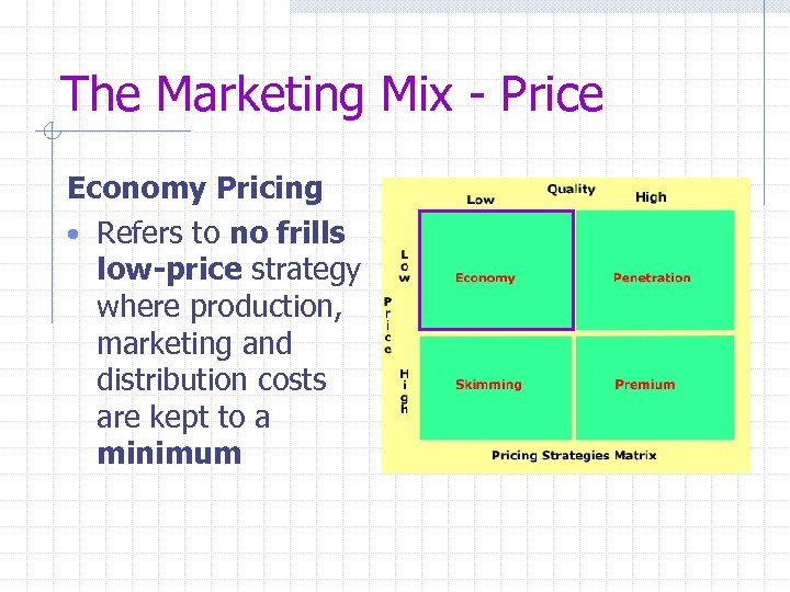 The Marketing Mix - Price Economy Pricing • Refers to no frills low-price strategy