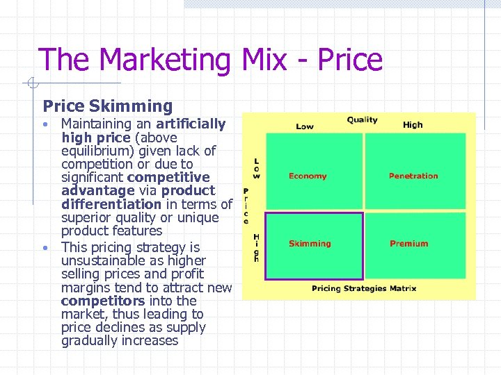 The Marketing Mix - Price Skimming Maintaining an artificially high price (above equilibrium) given