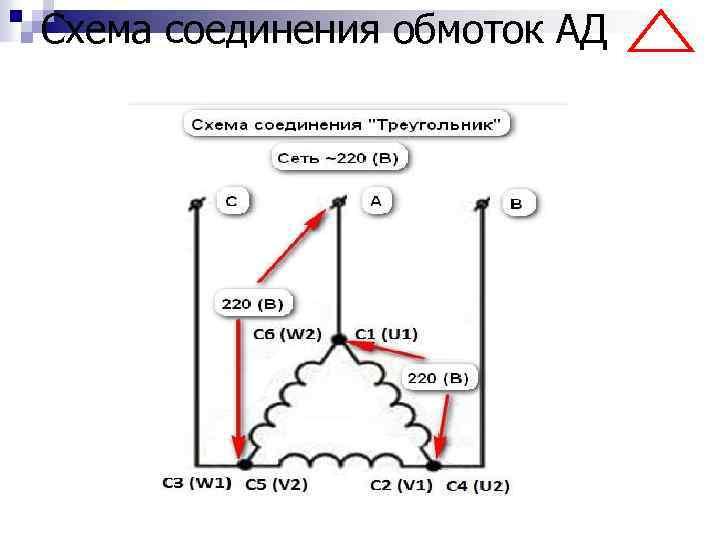 Схема соединения обмоток АД