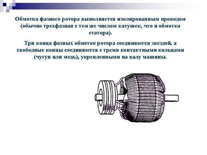 Обмотка фазного ротора выполняется изолированным проводом (обычно трехфазная с тем же числом катушек, что