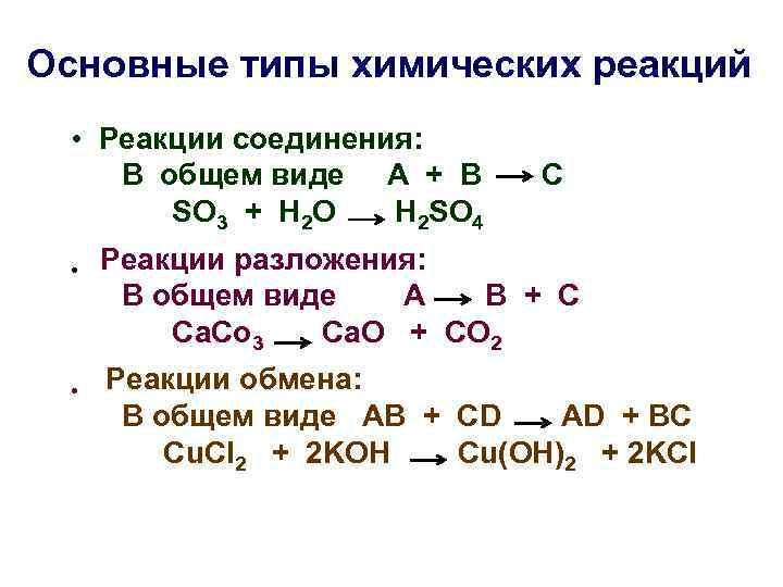 Основные типы химических реакций • Реакции соединения: В общем виде А + В SO