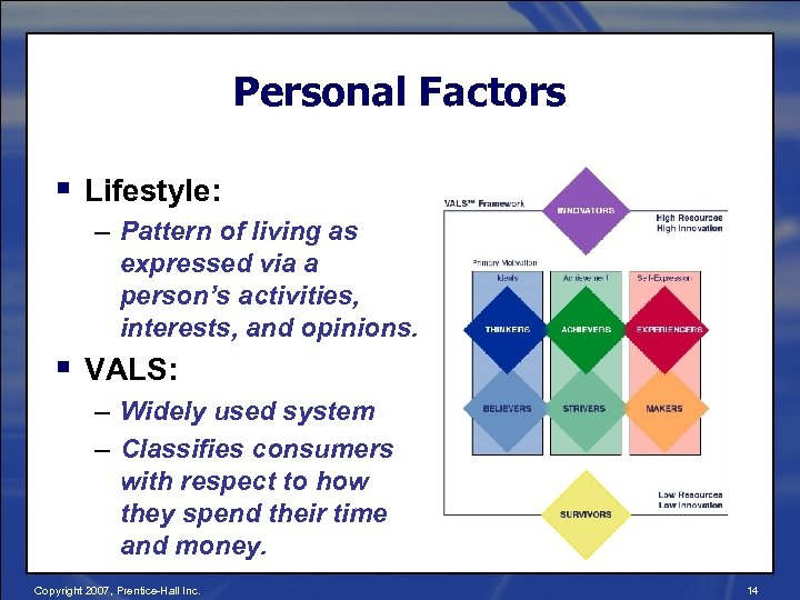 Personal Factors § Lifestyle: – Pattern of living as expressed via a person's activities,