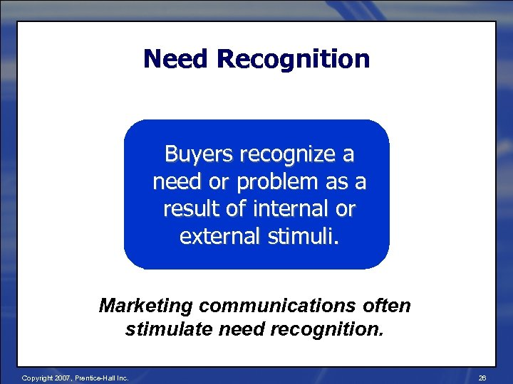 Need Recognition Buyers recognize a need or problem as a result of internal or