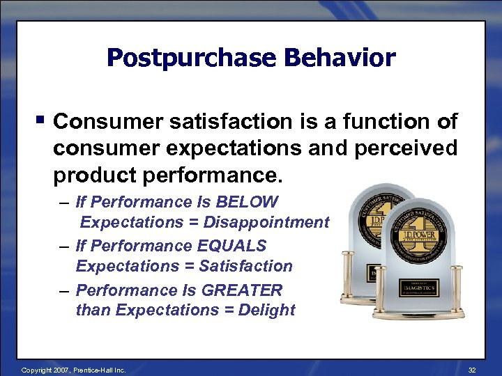 Postpurchase Behavior § Consumer satisfaction is a function of consumer expectations and perceived product