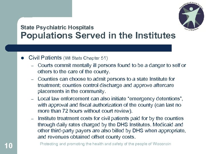 State Psychiatric Hospitals Populations Served in the Institutes l Civil Patients (WI Stats Chapter
