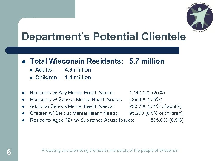 Department's Potential Clientele l Total Wisconsin Residents: 5. 7 million l l l l