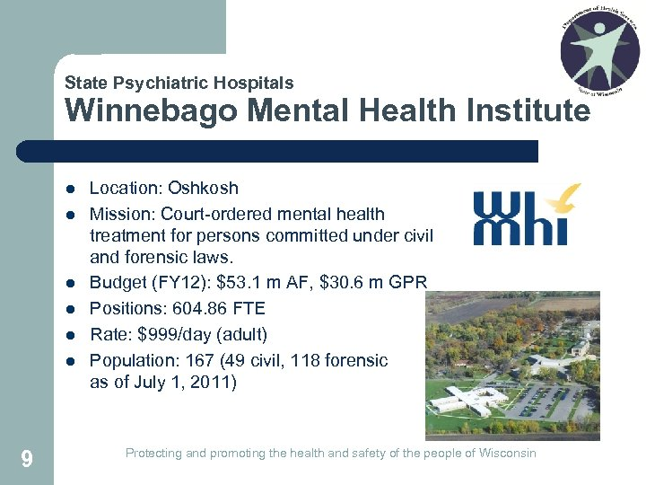 State Psychiatric Hospitals Winnebago Mental Health Institute l l l 9 Location: Oshkosh Mission: