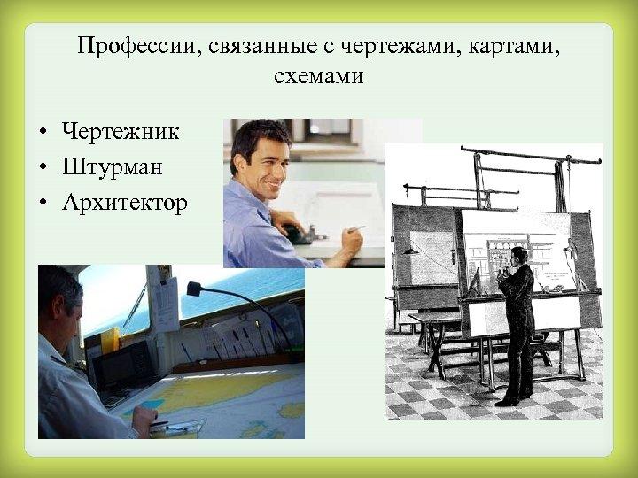 Профессии, связанные с чертежами, картами, схемами • Чертежник • Штурман • Архитектор