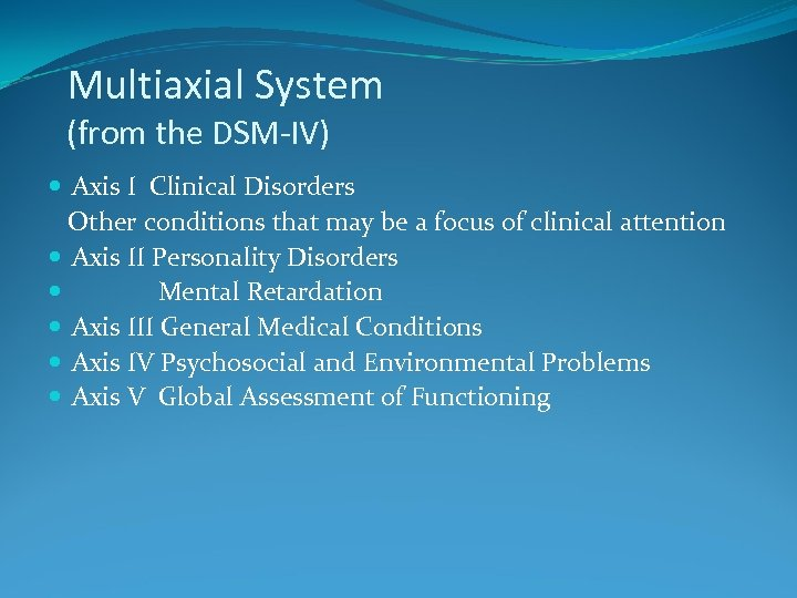 Multiaxial System (from the DSM-IV) Axis I Clinical Disorders Other conditions that may be