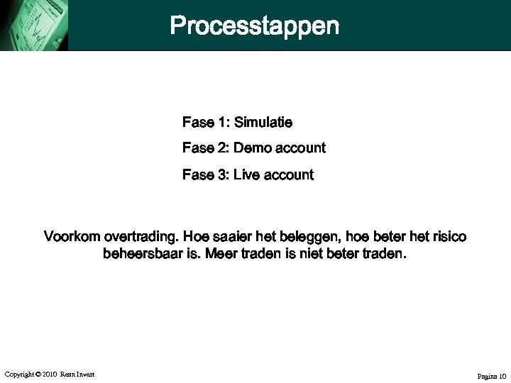 Processtappen Fase 1: Simulatie Fase 2: Demo account Fase 3: Live account Voorkom overtrading.