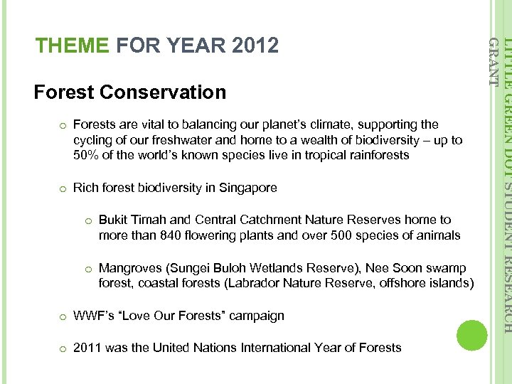 Forest Conservation o Forests are vital to balancing our planet's climate, supporting the cycling