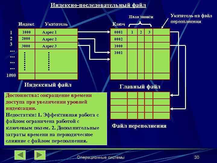 Индексно-последовательный файл Поля записи Индекс 1 2 3 … …. 1000 Указатель Ключ 1000