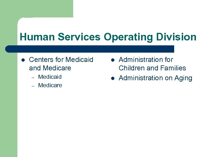 Human Services Operating Division l Centers for Medicaid and Medicare – – Medicaid Medicare