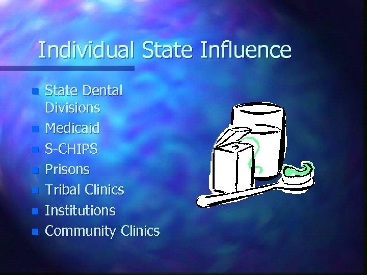 Individual State Influence n n n n State Dental Divisions Medicaid S-CHIPS Prisons Tribal