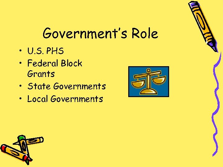 Government's Role • U. S. PHS • Federal Block Grants • State Governments •