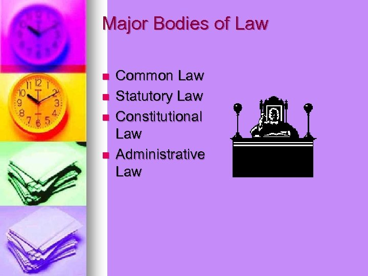Major Bodies of Law n n Common Law Statutory Law Constitutional Law Administrative Law