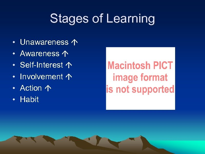 Stages of Learning • • • Unawareness Awareness Self-Interest Involvement Action Habit