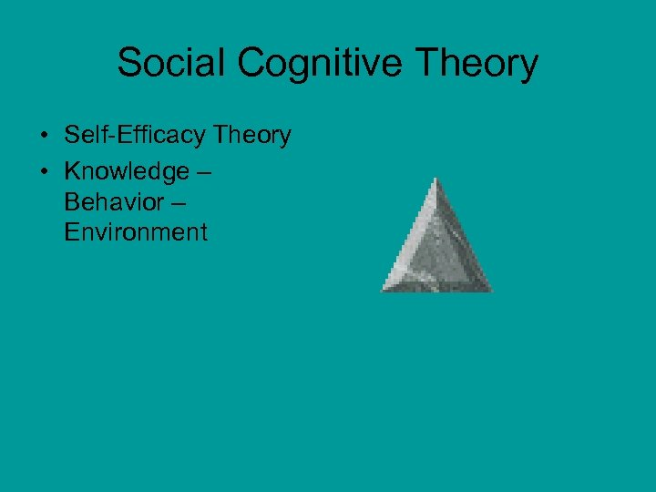 Social Cognitive Theory • Self-Efficacy Theory • Knowledge – Behavior – Environment