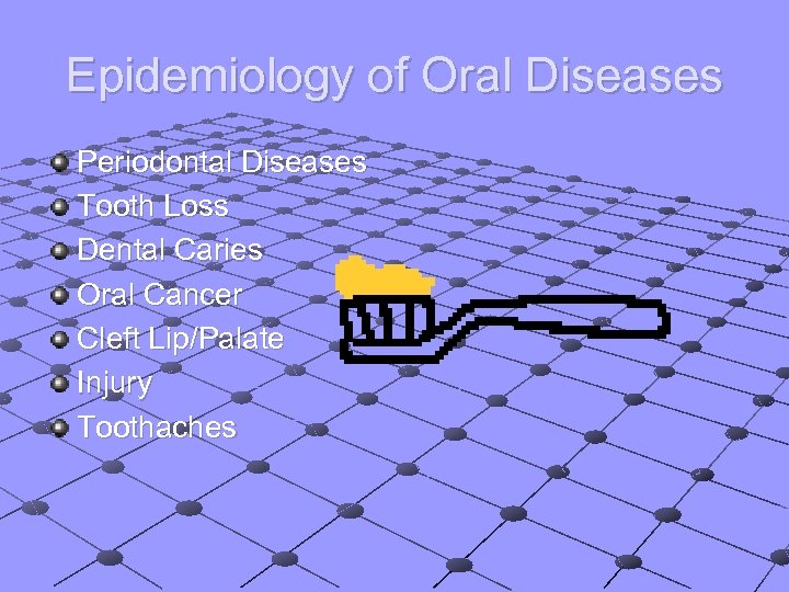 Epidemiology of Oral Diseases Periodontal Diseases Tooth Loss Dental Caries Oral Cancer Cleft Lip/Palate
