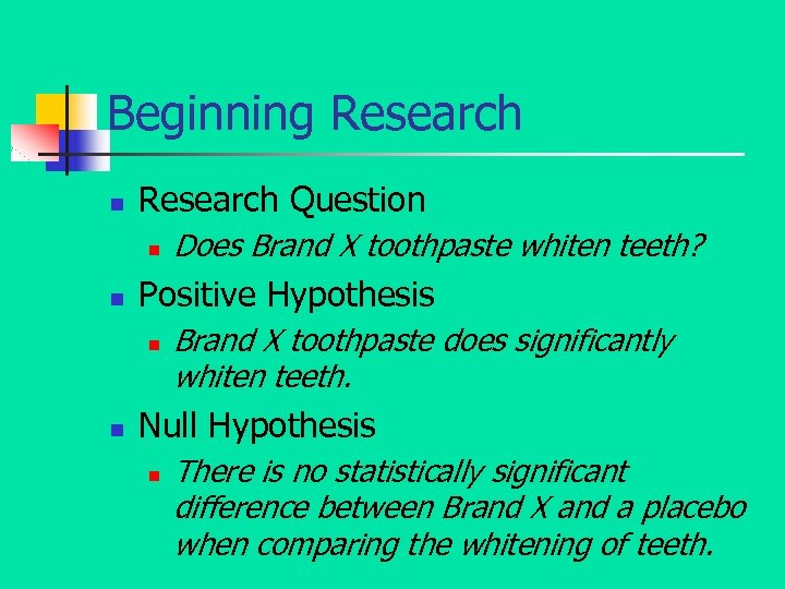 Beginning Research n Research Question n n Positive Hypothesis n n Does Brand X