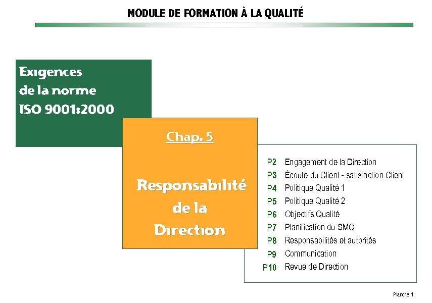 MODULE DE FORMATION À LA QUALITÉ Exigences de la norme ISO 9001: 2000 Chap.
