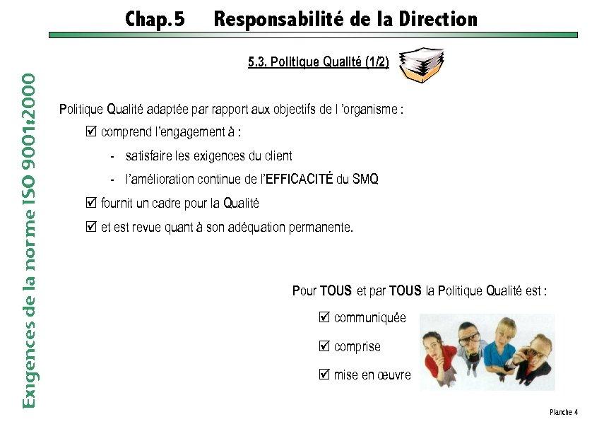 Chap. 5 Responsabilité de la Direction Exigences de la norme ISO 9001: 2000 5.