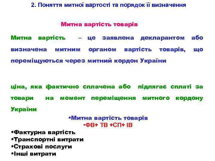 2. Поняття митної вартості та порядок її визначення Митна вартість товарів Митна вартість визначена