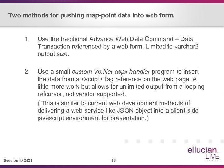 Two methods for pushing map-point data into web form. 1. Use the traditional Advance