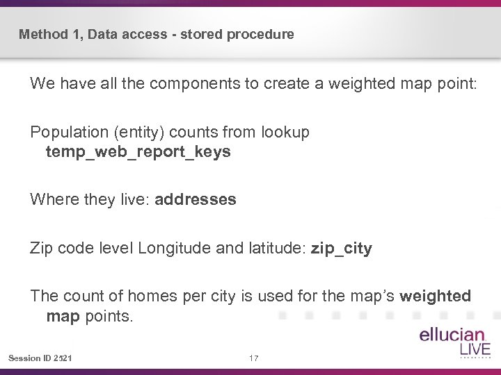 Method 1, Data access - stored procedure We have all the components to create