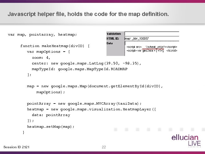 Javascript helper file, holds the code for the map definition. var map, pointarray, heatmap;