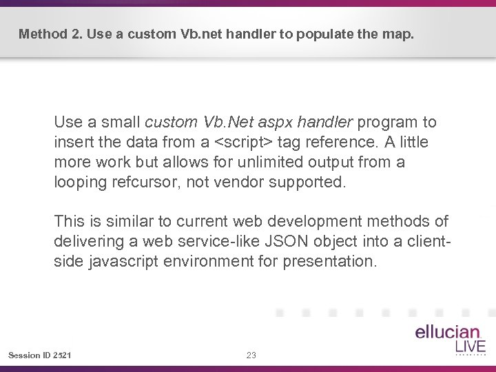 Method 2. Use a custom Vb. net handler to populate the map. Use a