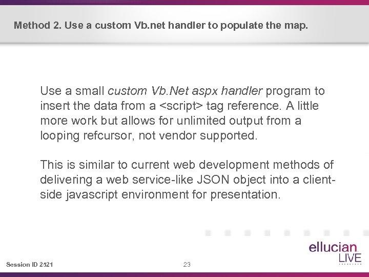 Method 2. Use a custom Vb. net handler to populate the map. Use a