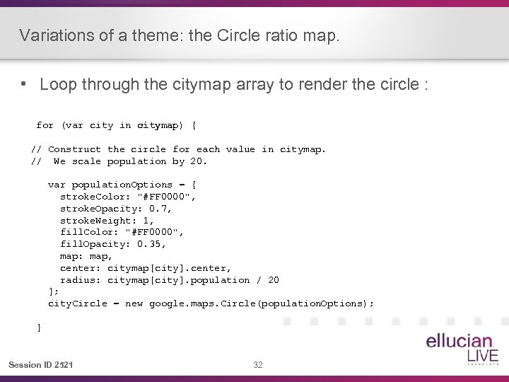 Variations of a theme: the Circle ratio map. • Loop through the citymap array