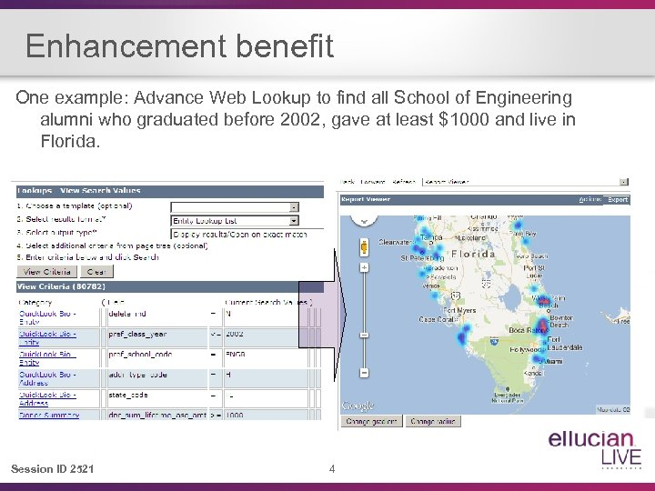 Enhancement benefit One example: Advance Web Lookup to find all School of Engineering alumni