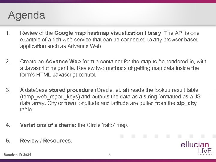 Agenda 1. Review of the Google map heatmap visualization library. The API is one